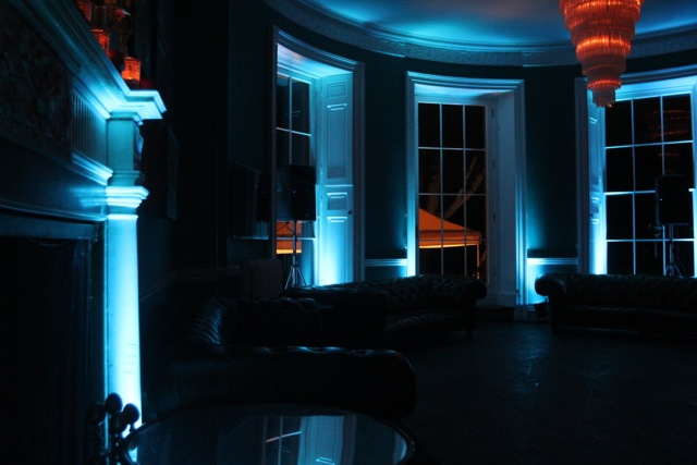 Image of Blue LED wedding lighting.
